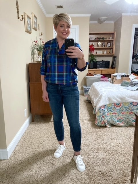 plaid tunic top from Amazon Prime