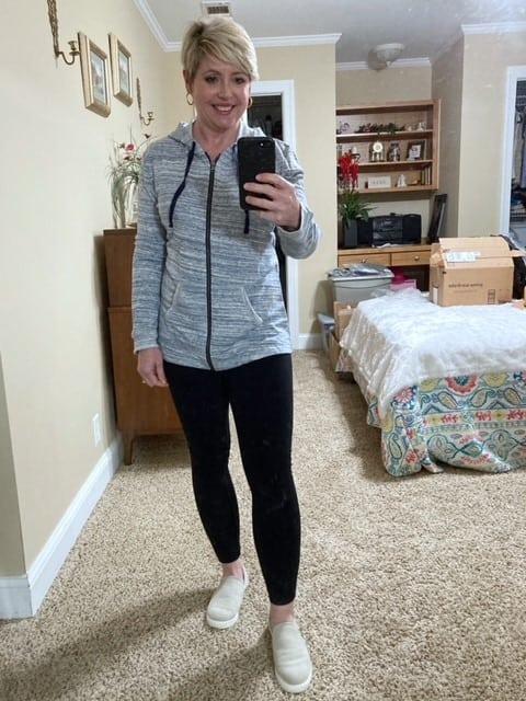 zip up hoodie top to wear with leggings