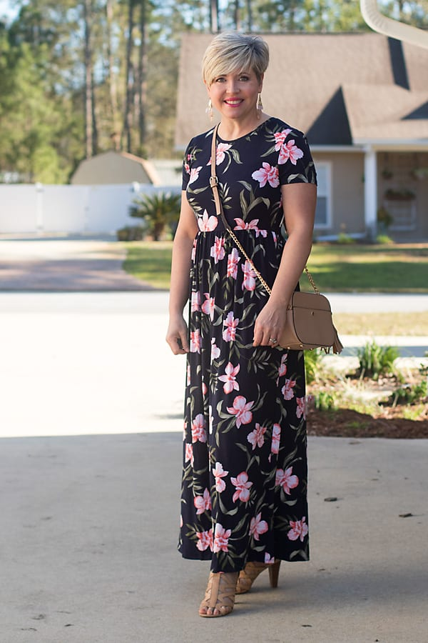 bold floral petite maxi dress for Easter and spring