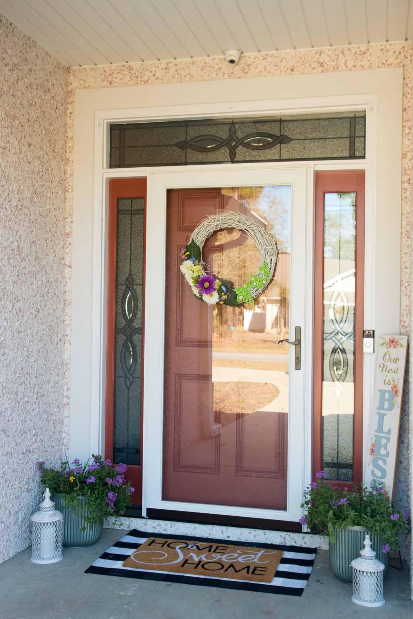front door spring porch decor