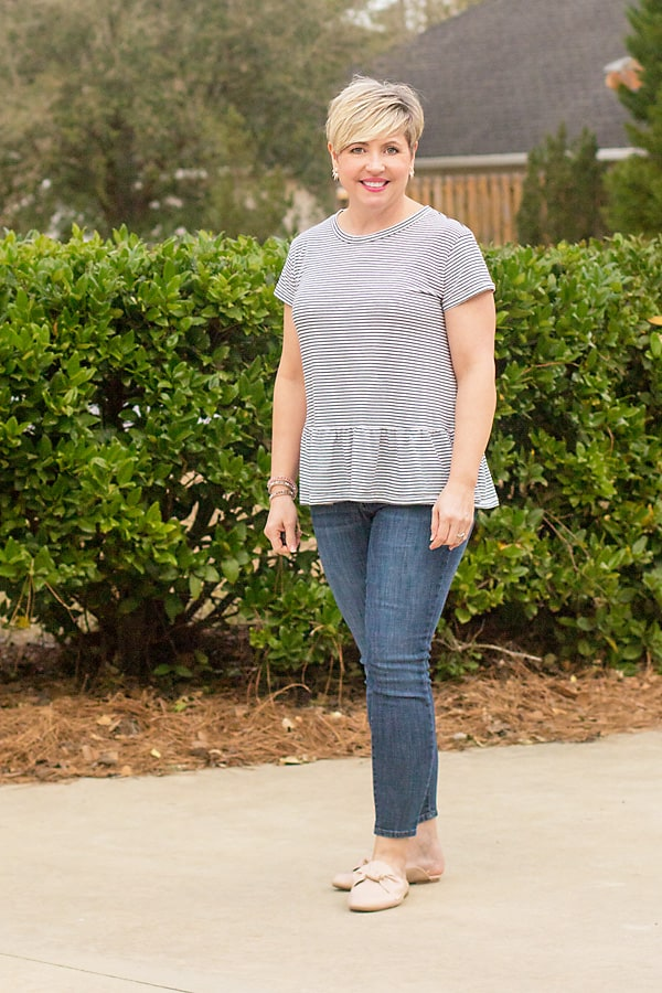 casual peplum tee and jeans outfit