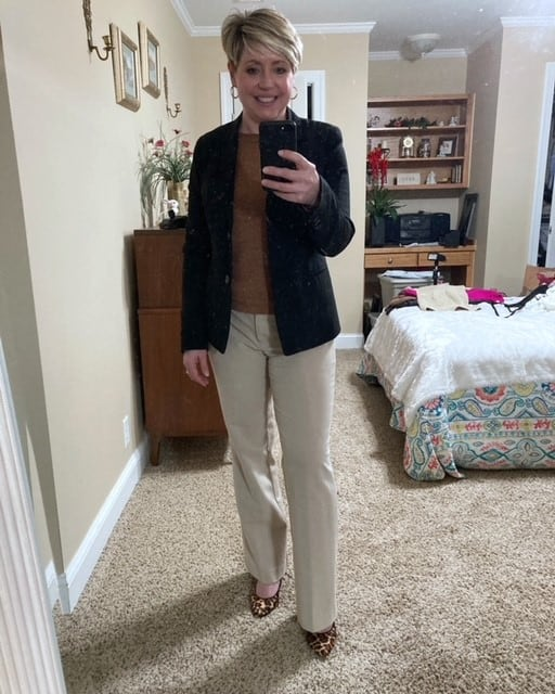 women's neutral outfit with black blazer for an work wear outfit option