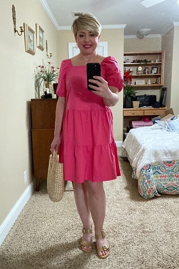 spring color trend raspberry, tiered dress