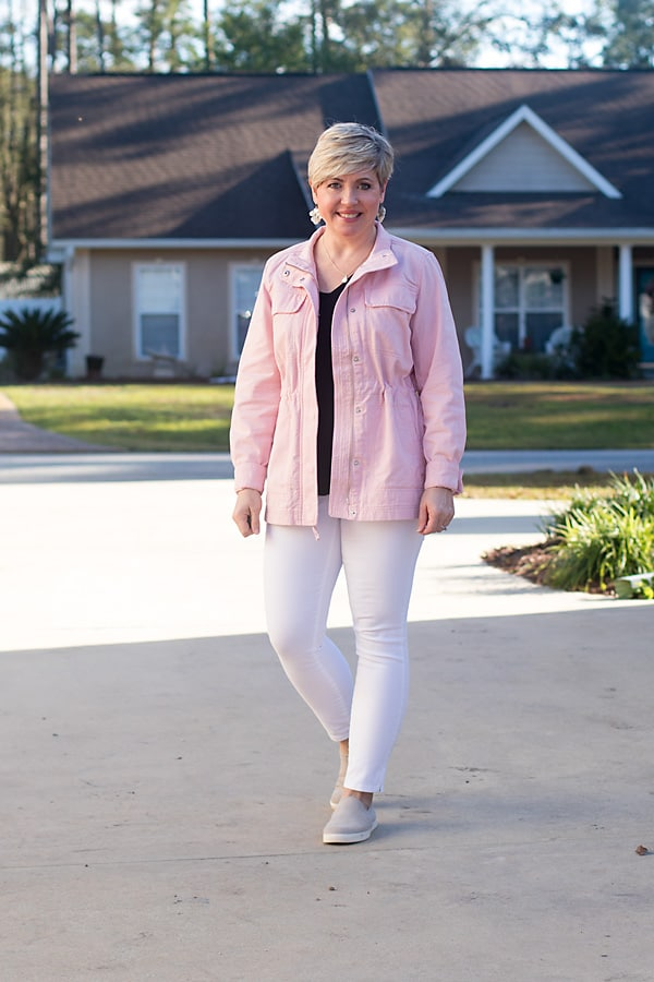 spring color trend pink utility jacket outfit for women