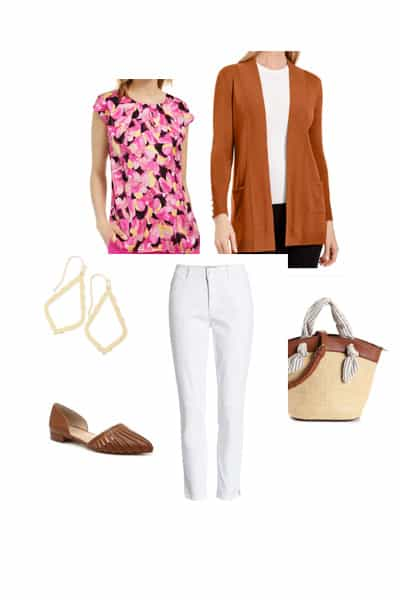 women's spring outfit with floral raspberry top