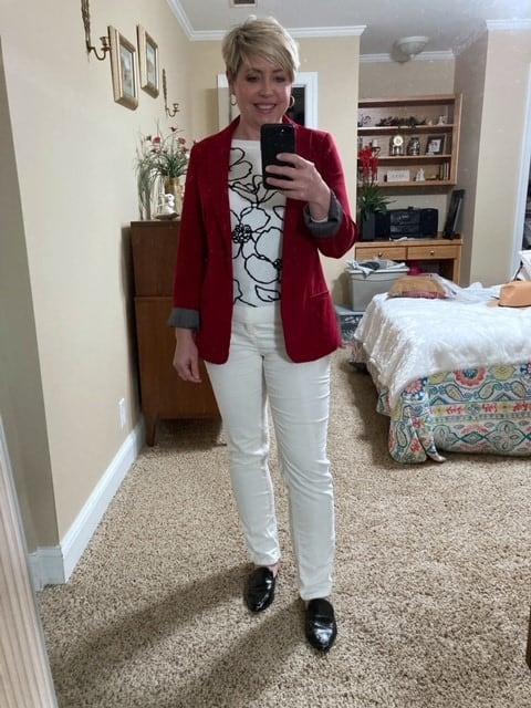 women's red blazer work outfit