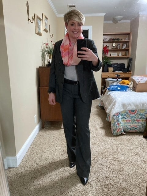 work wear outfit option with spring scarf