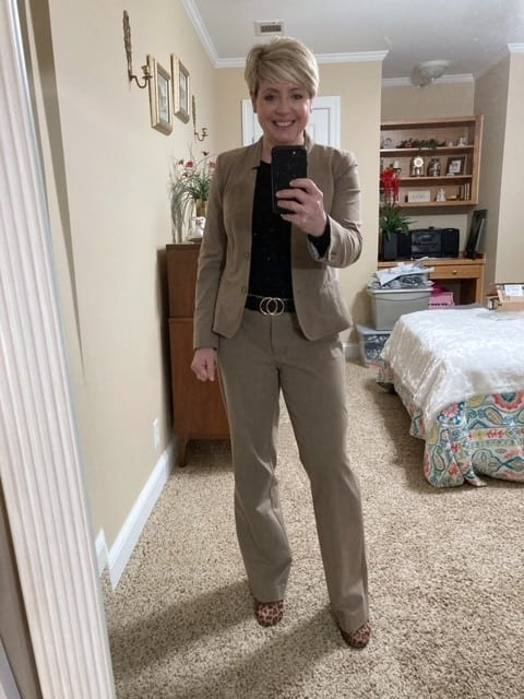 women's tan suit with black sweater, neutral work outfit