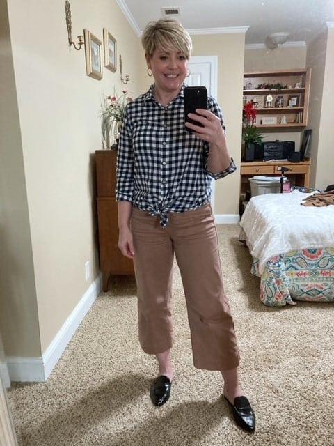 women's wide leg crop pants with gingham top