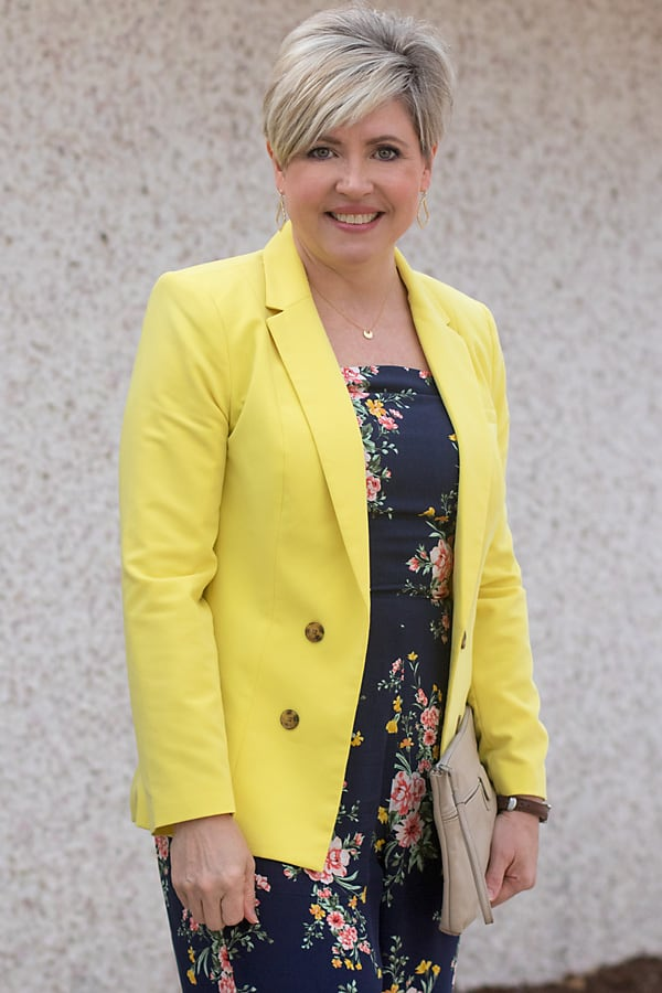 yellow blazer with square neck jumpsuit