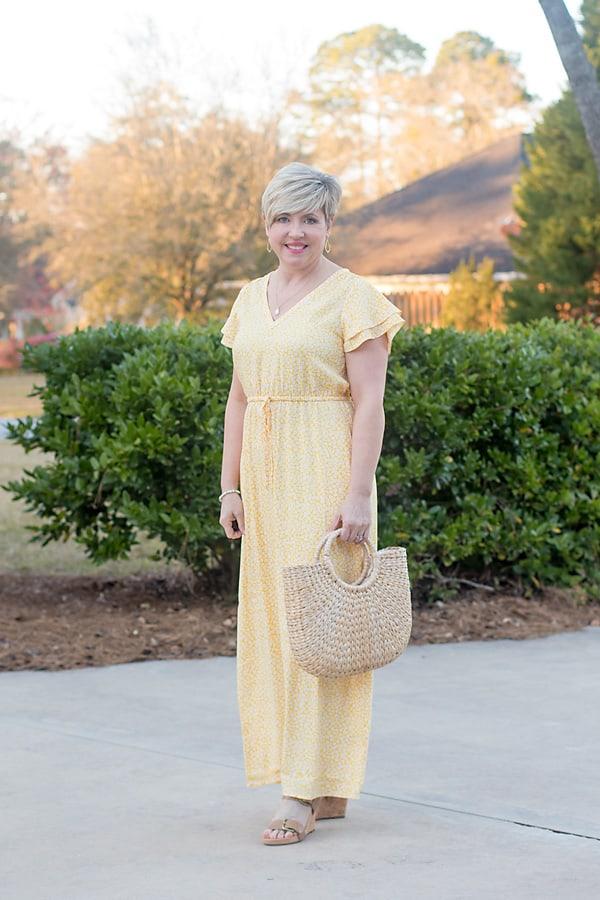 yellow petite length maxi dress