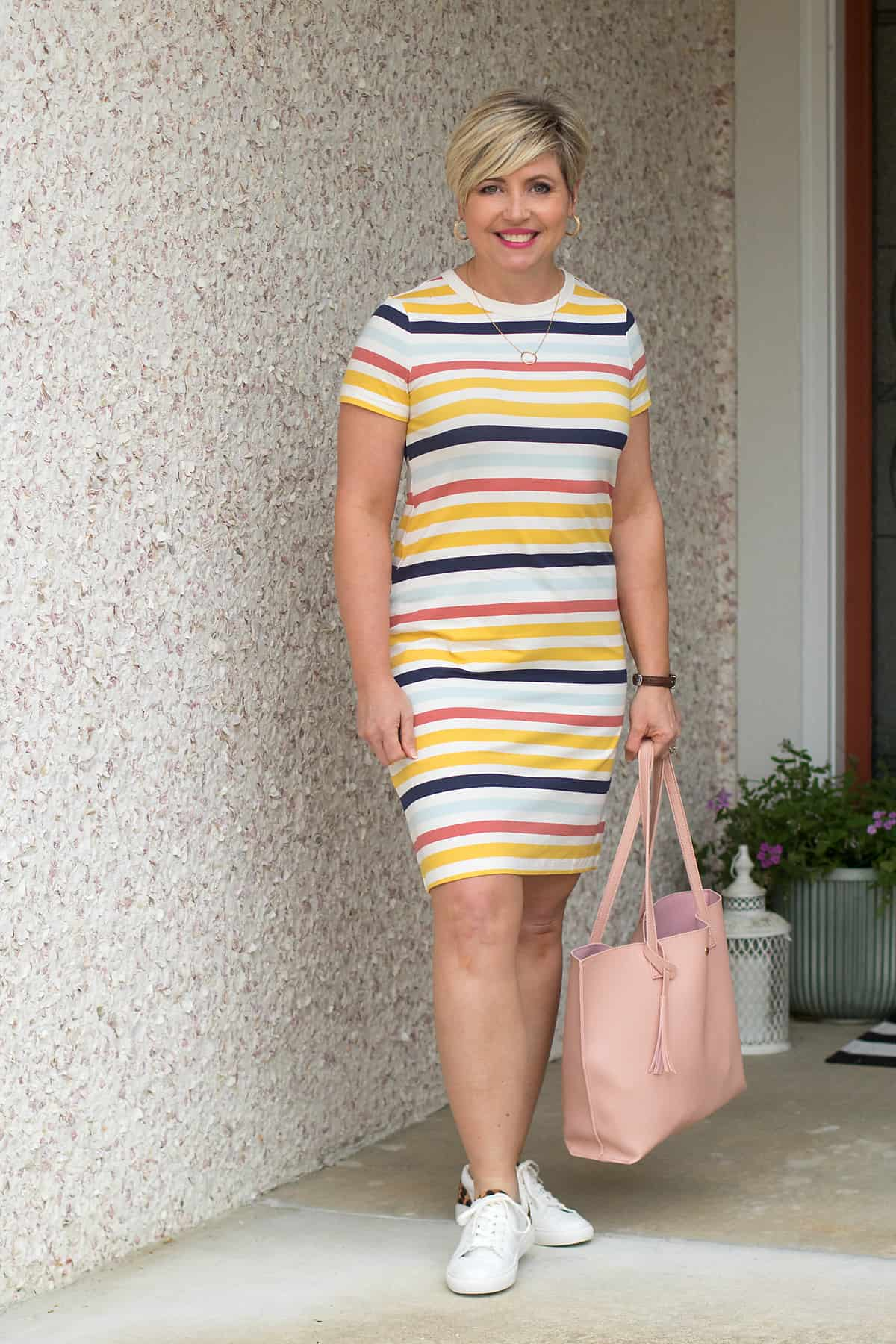 women's striped tshirt dress with sneakers outfit