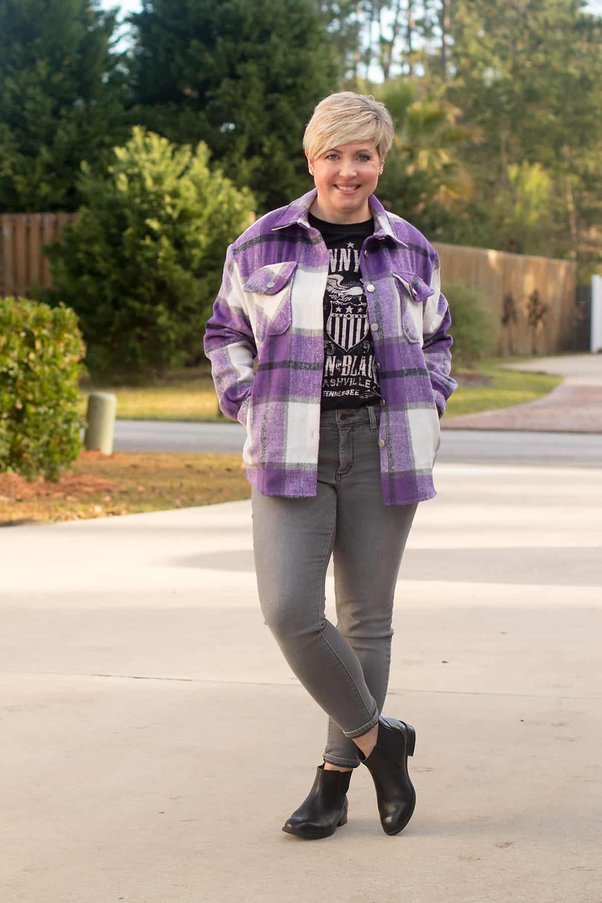 purple plaid shacket outfit