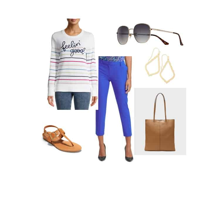 spring outfit with french blue pants