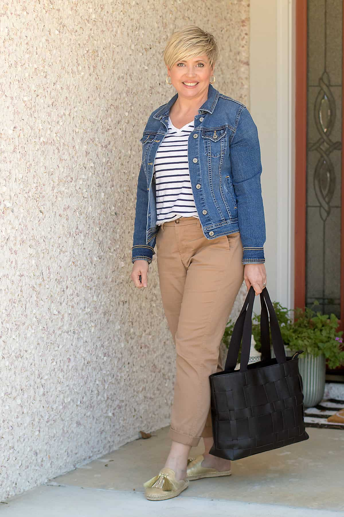 spring outfit with chinos and denim jacket