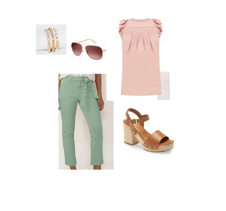 tie waist pants and ruffle top spring outfit