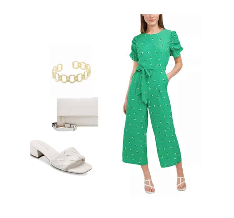 women's spring jumpsuit outfit in spring 2021 greens color trend