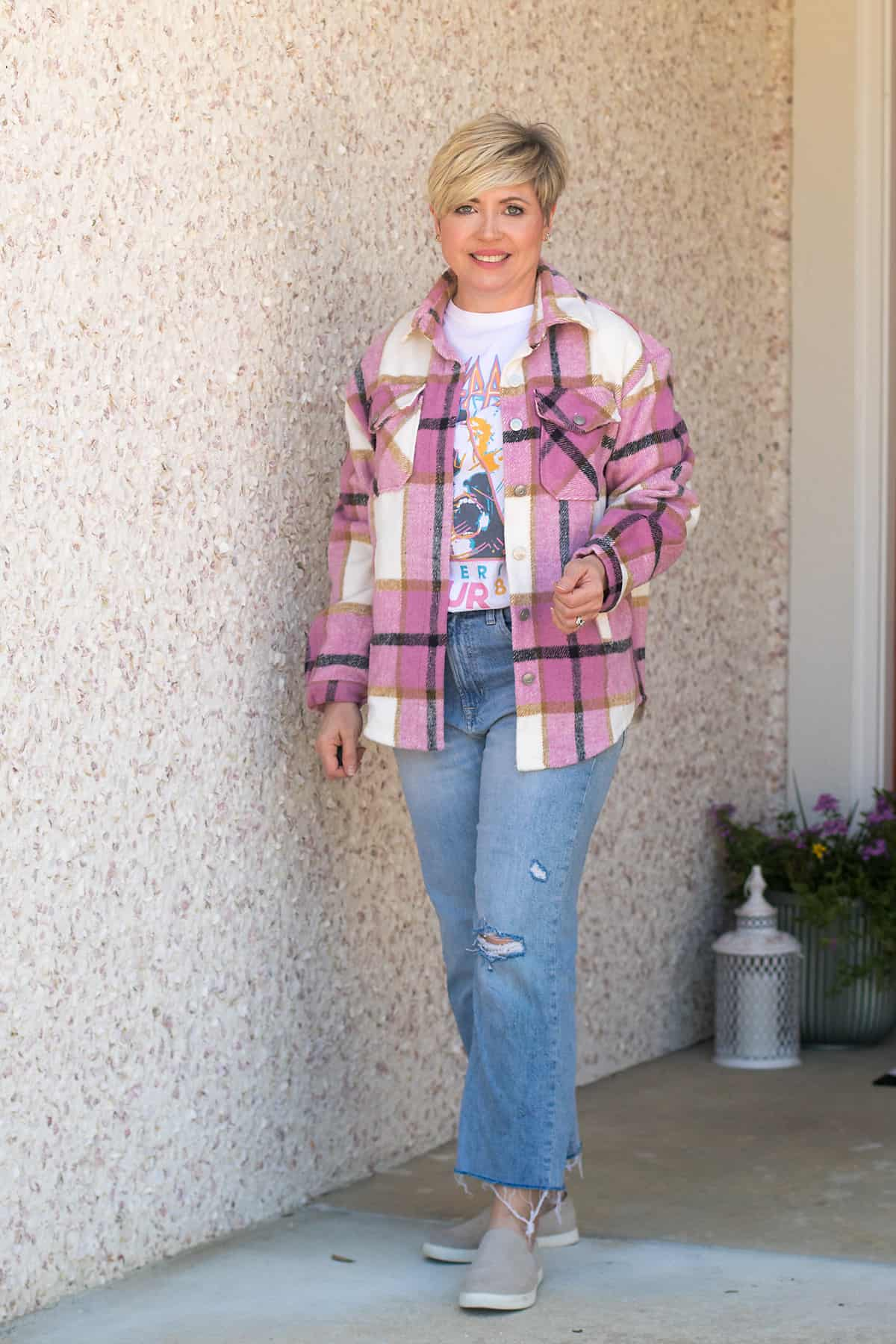 plaid shacket with graphic tee
