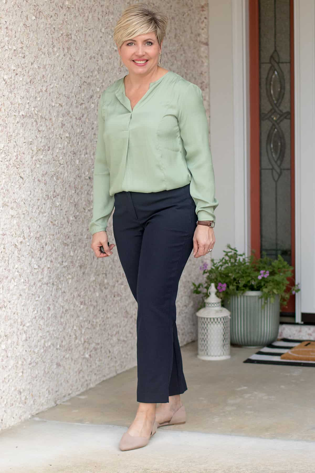 spring 2021 greens ash green sage green popover with navy pants work wear