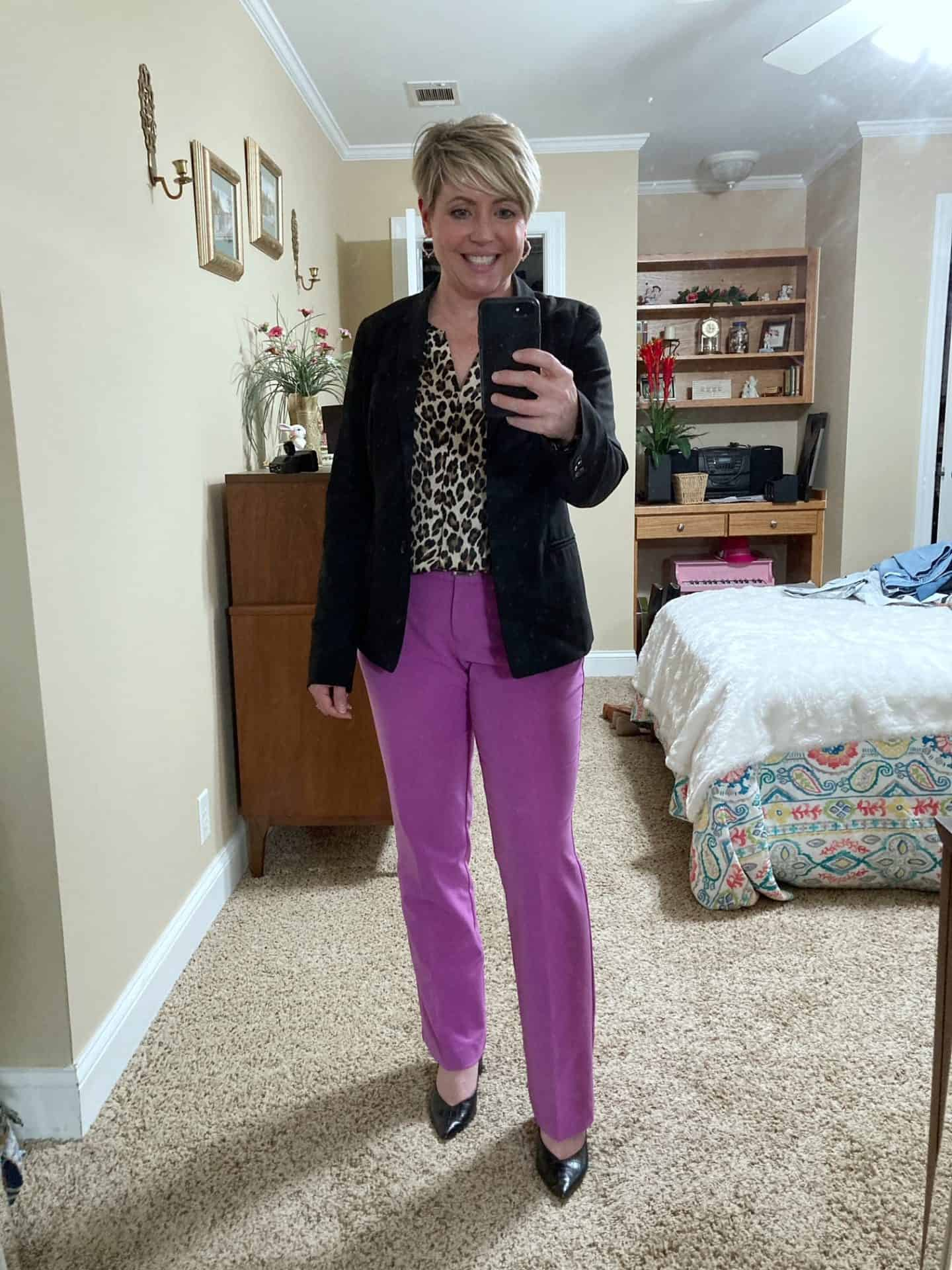 purple pants office outfit