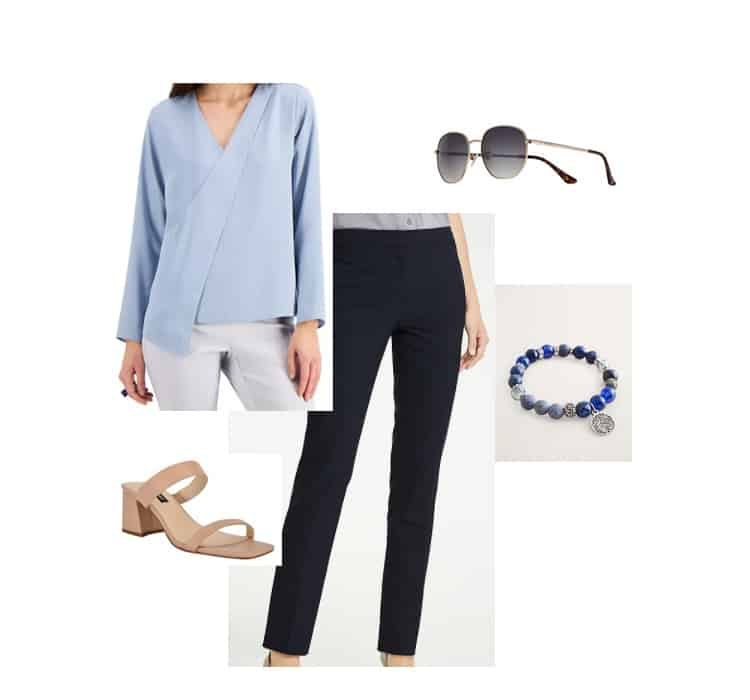 cerulean blue blouse with navy pants women's spring outfit