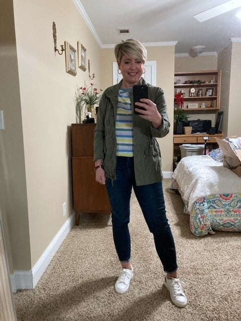 women's spring outfit with utility jacket and striped tee