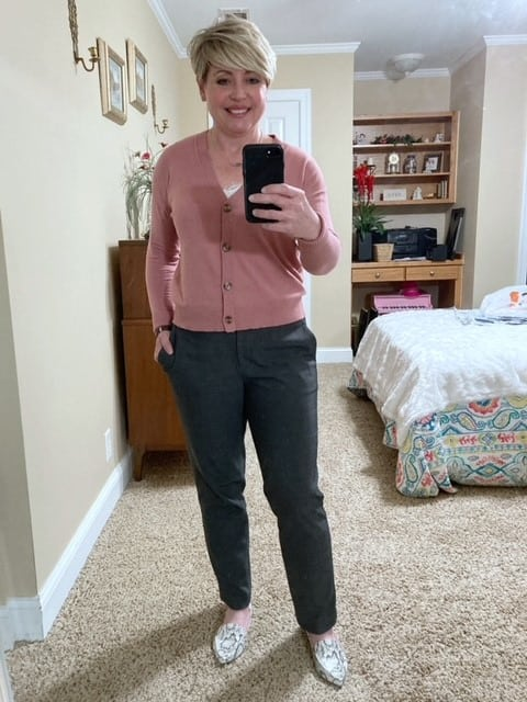 women's office outfit with Loft cardigan