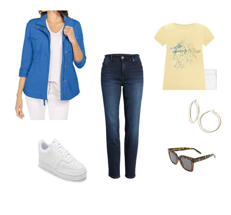 french blue utility jacket outfit for women
