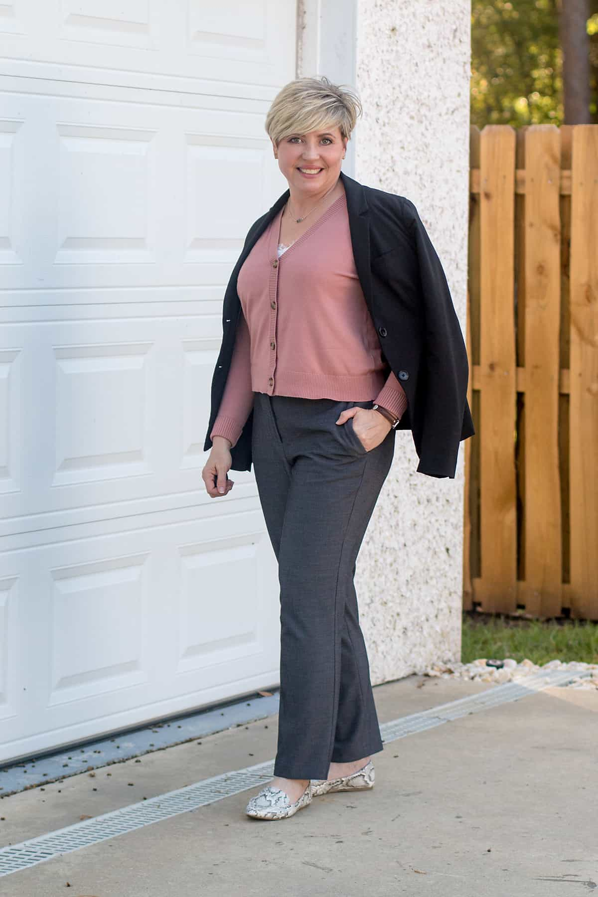 cropped cardigan with grey pants office outfit; spring work wear essentials