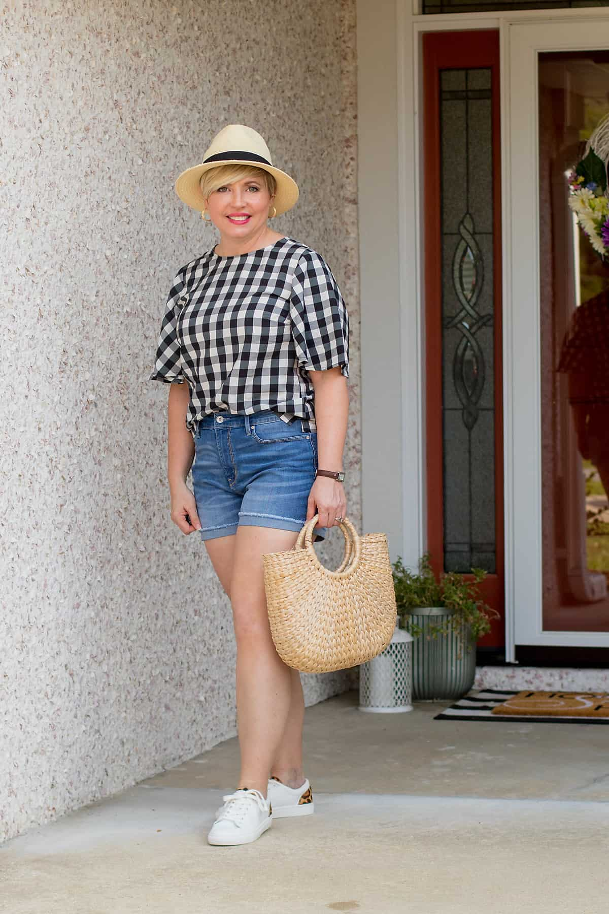 gingham top outfit