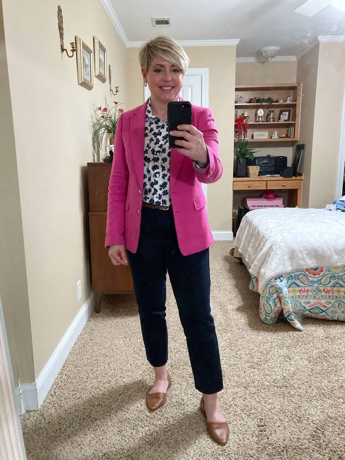 hot pink and navy work outfit