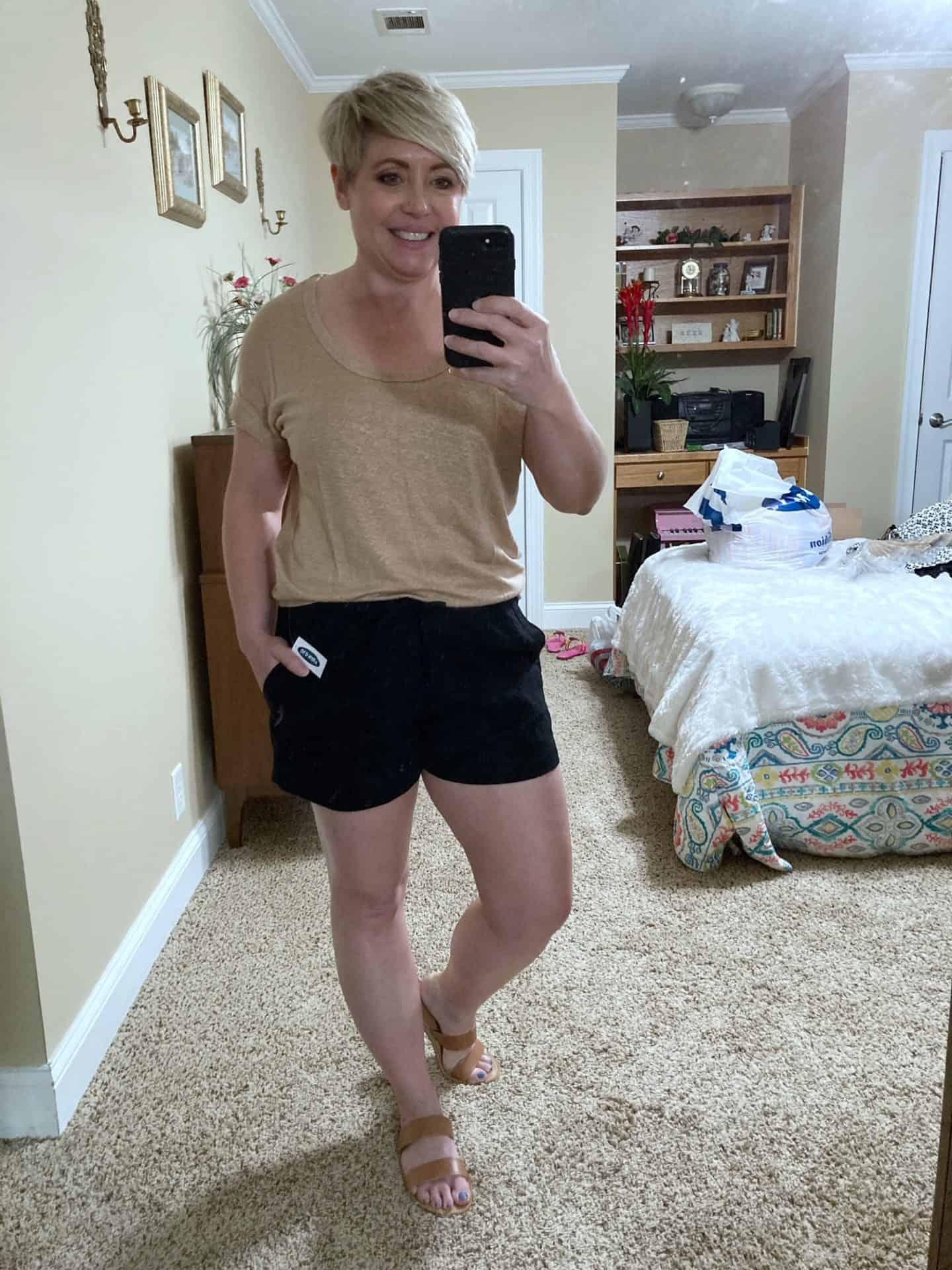 black linen pull on shorts