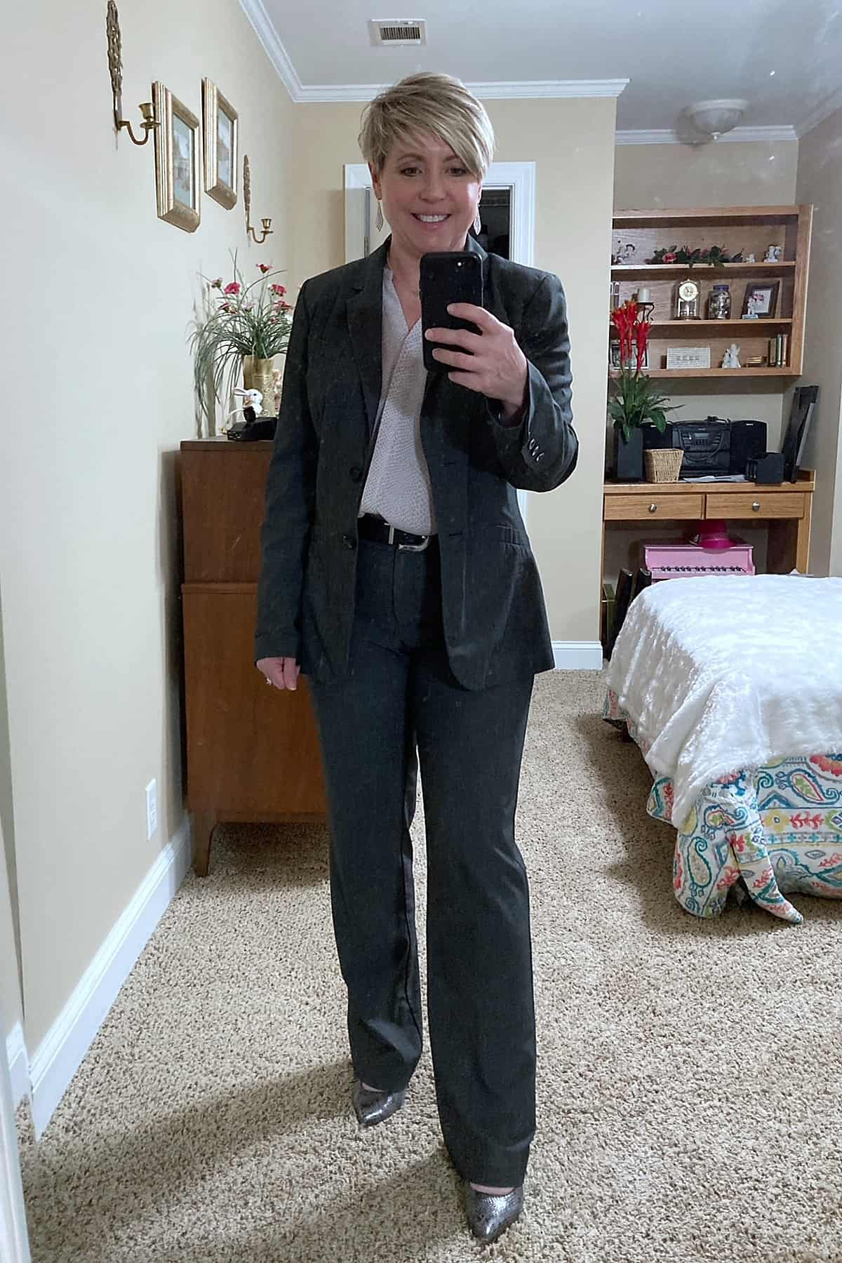 grey suit womens business attire