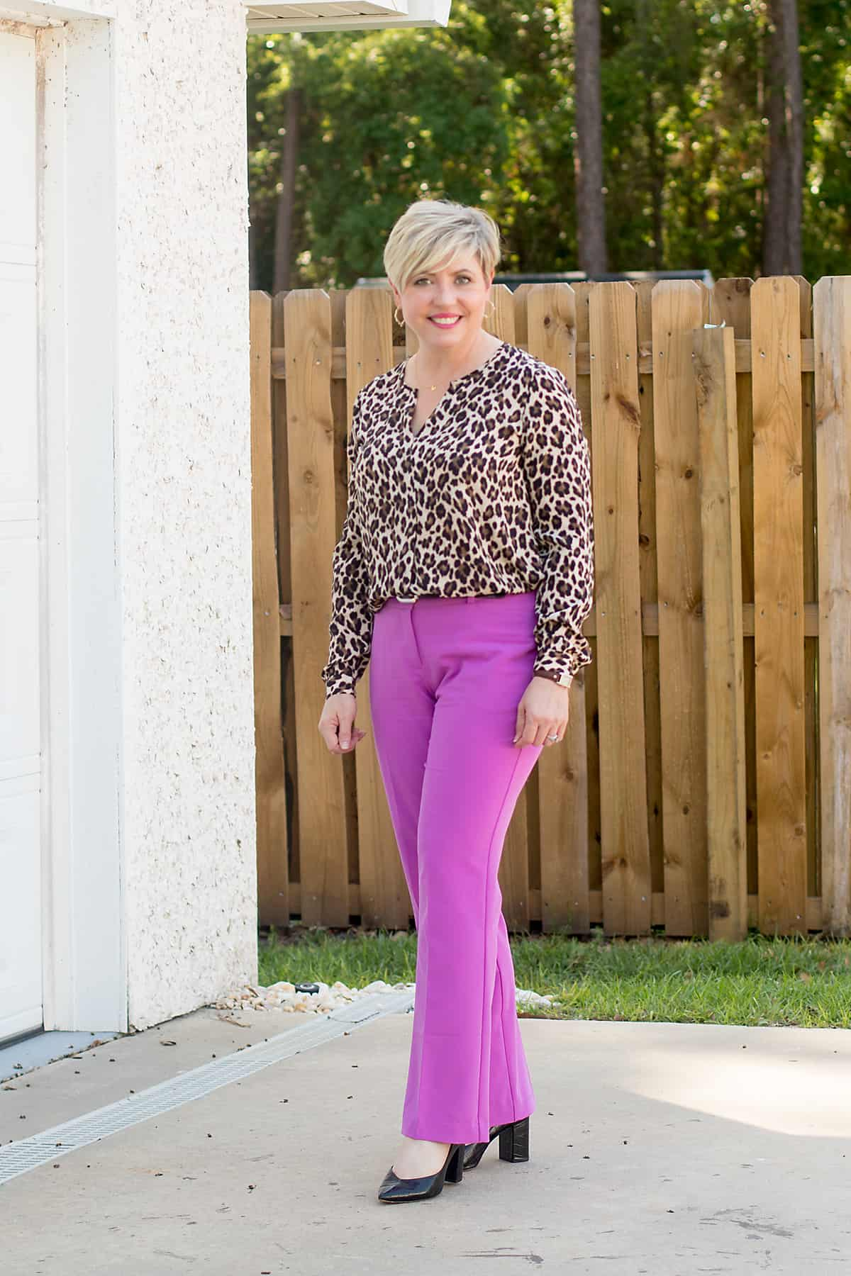 women's office outfit with amethyst orchid pants and leopard print top