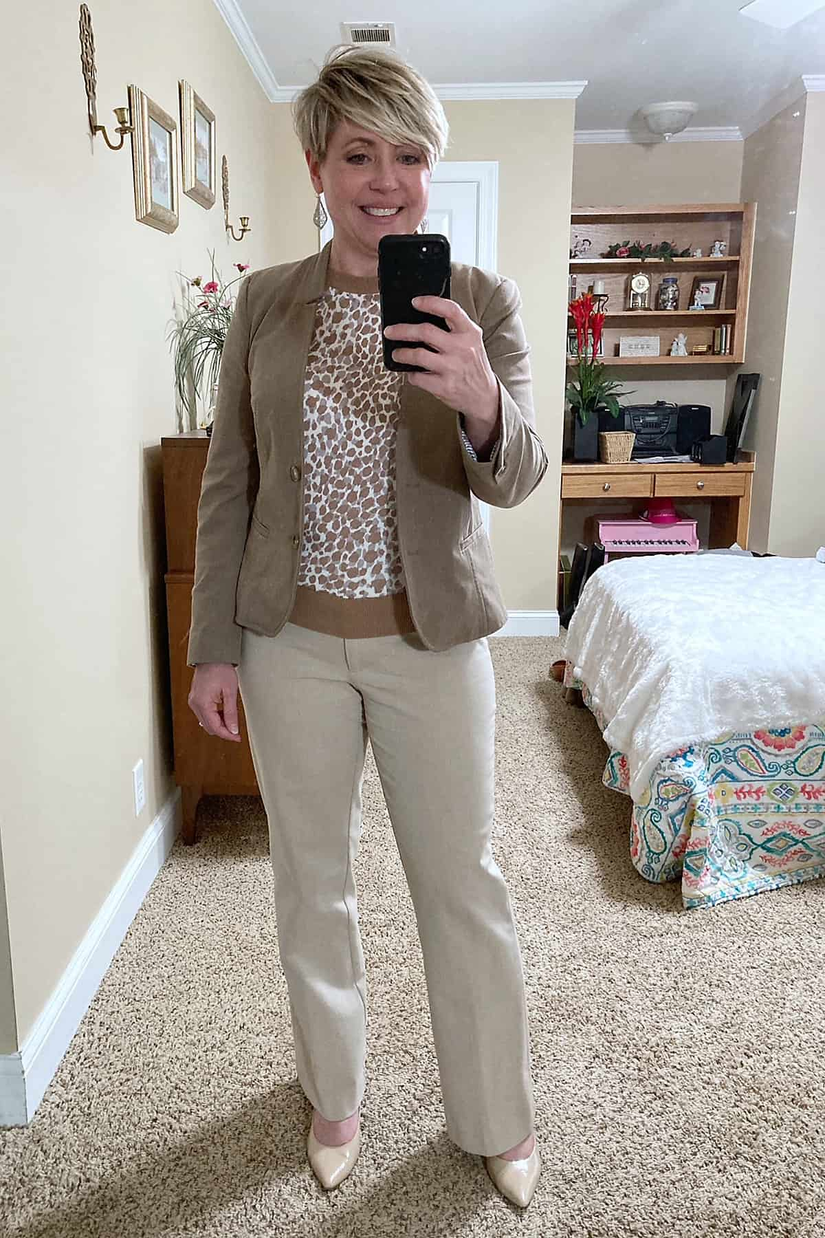 Ladies neutral work wear outfit with leopard sweater from Ann Taylor