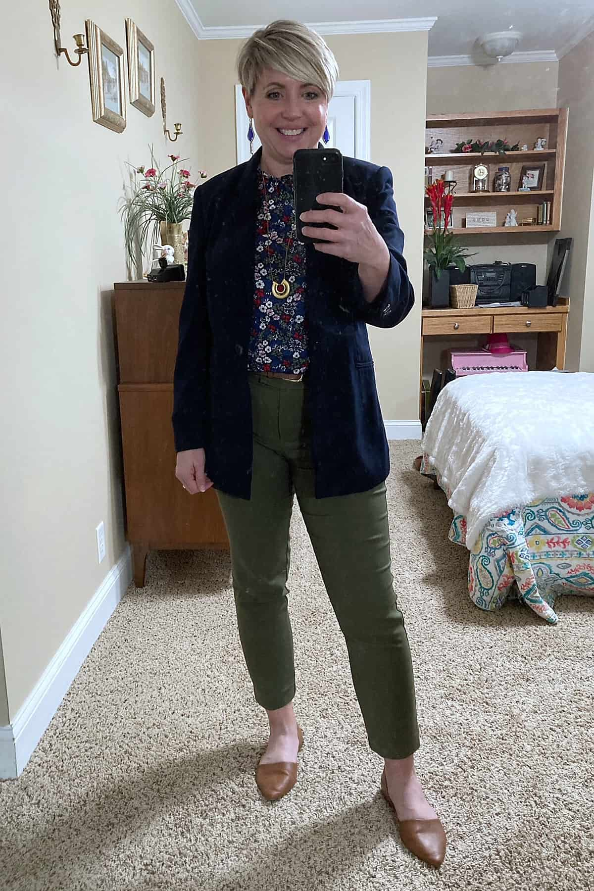 olive pants with navy blazer women's work wear