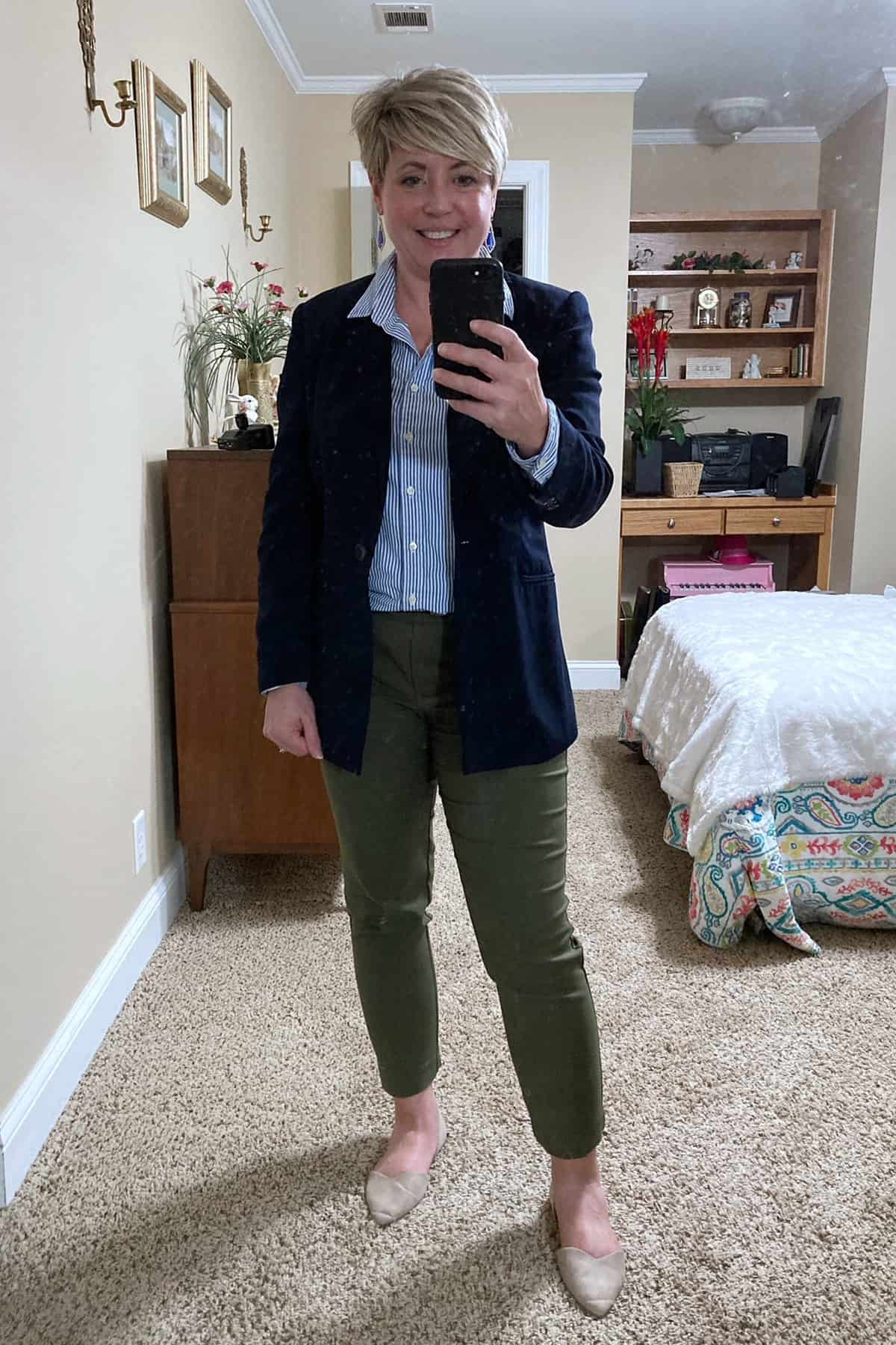 Olive pants and blue button up