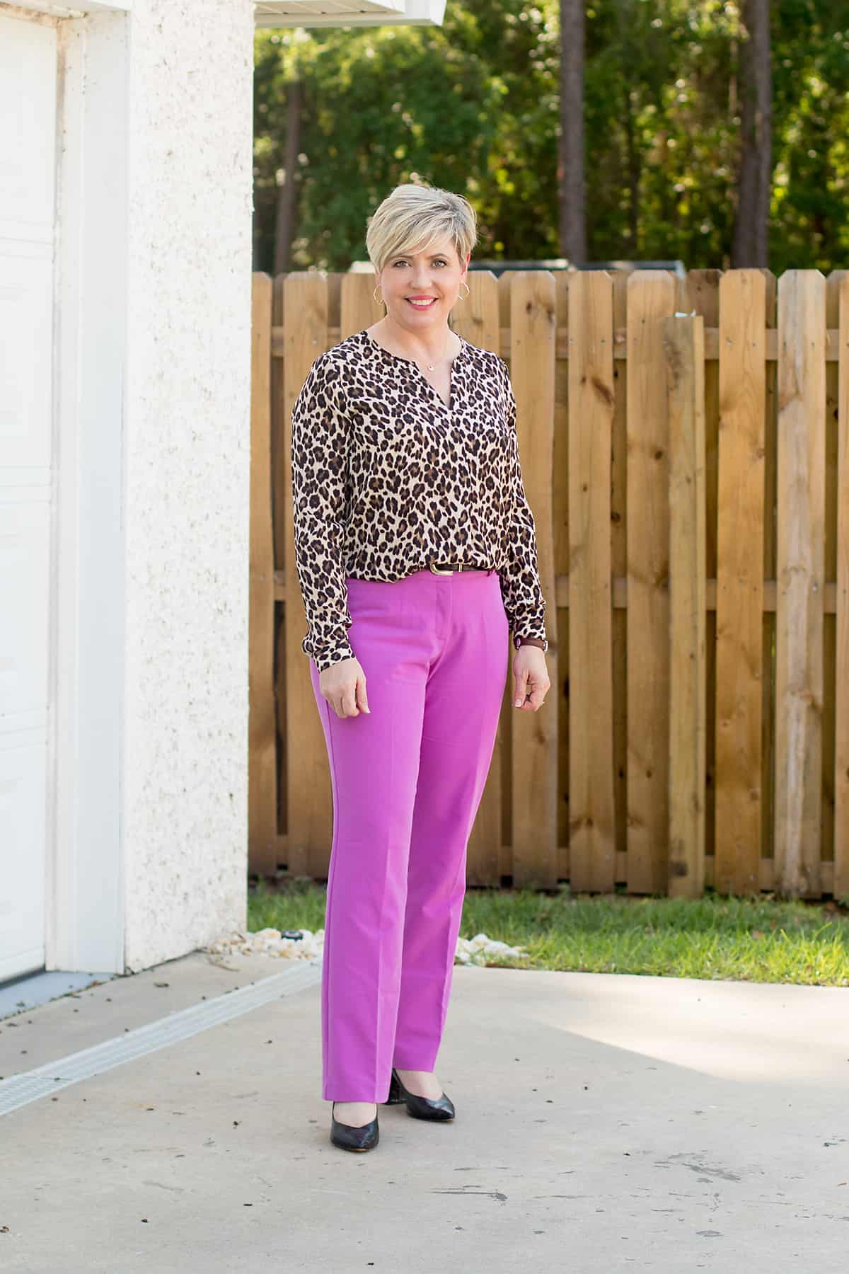women's office outfit with leopard top