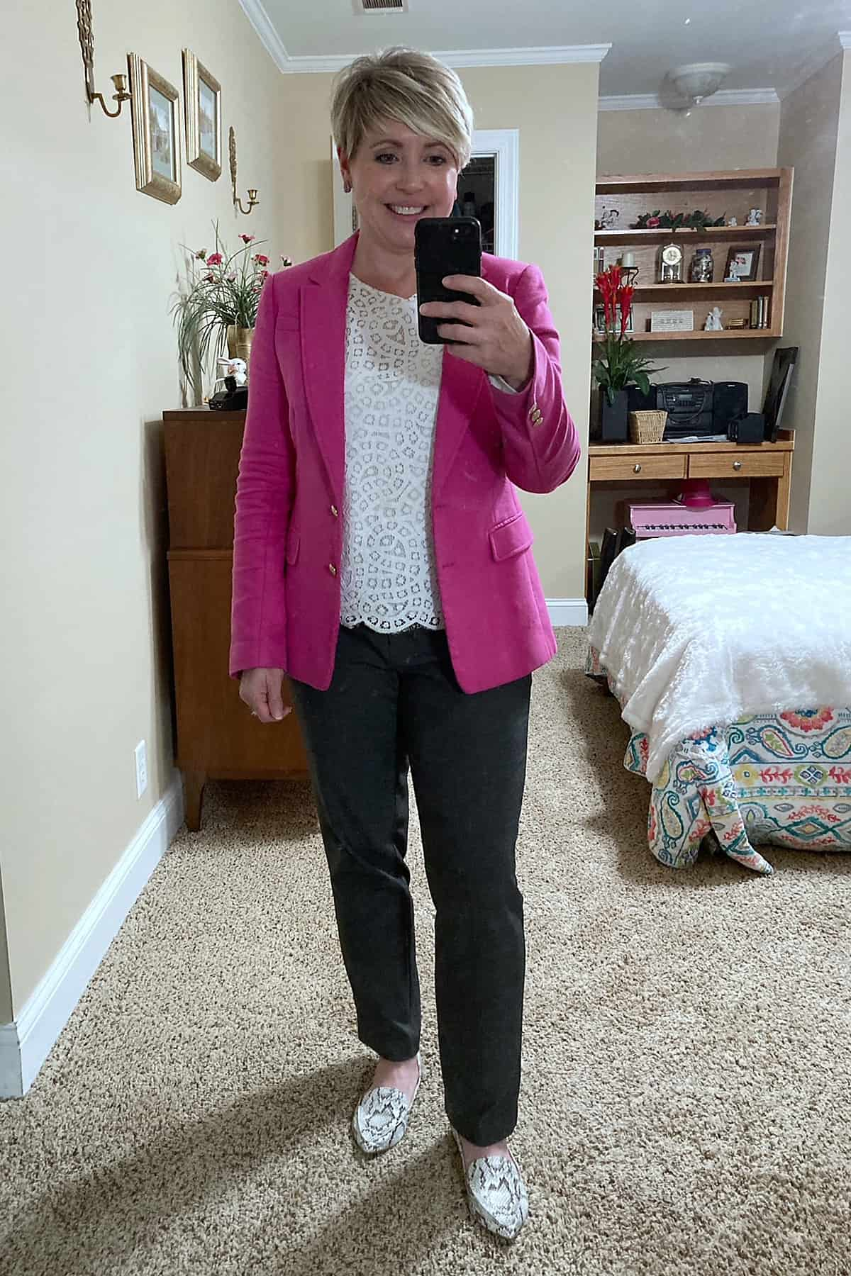 pink and grey office outfit
