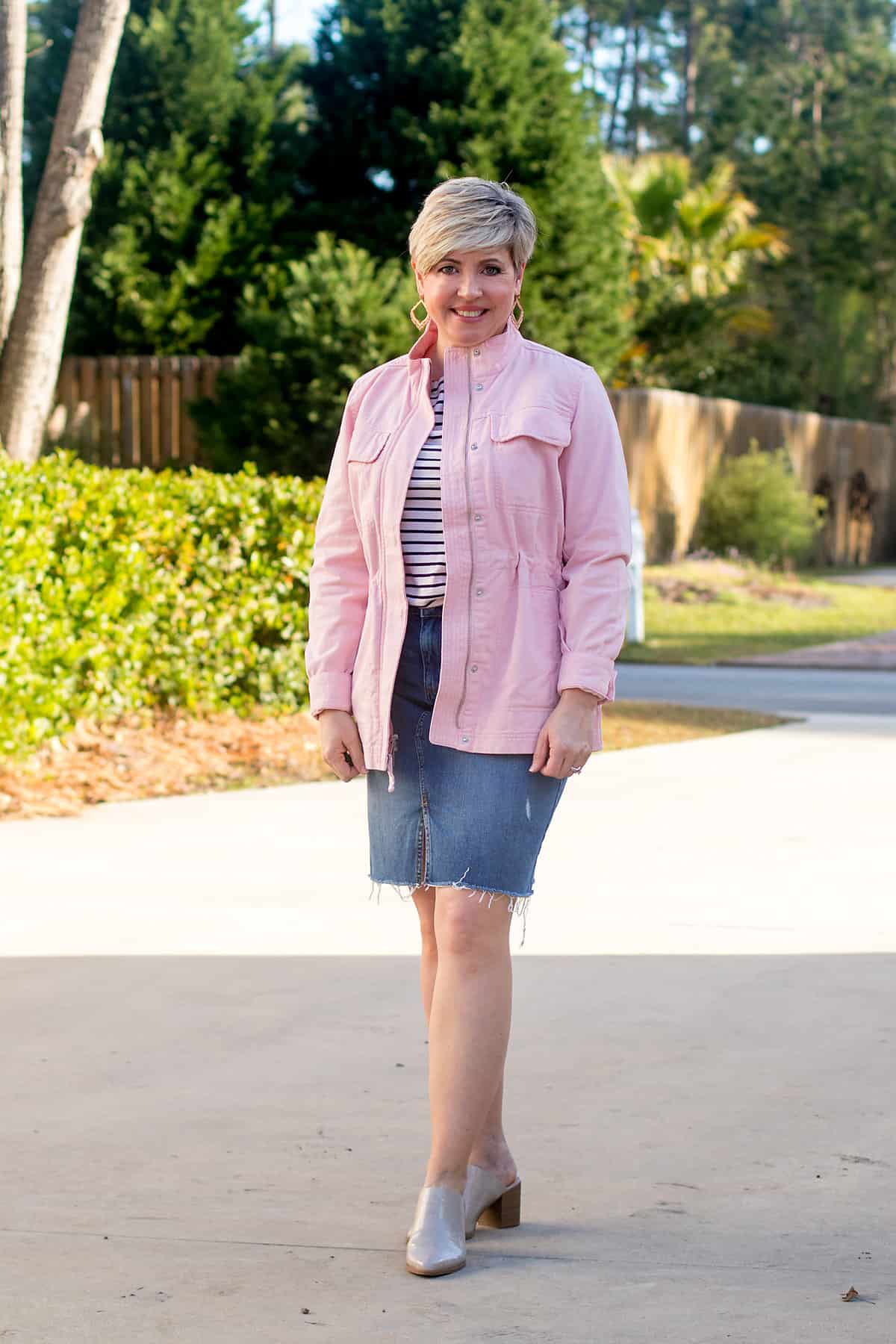 women's denim skirt outfit with utility jacket