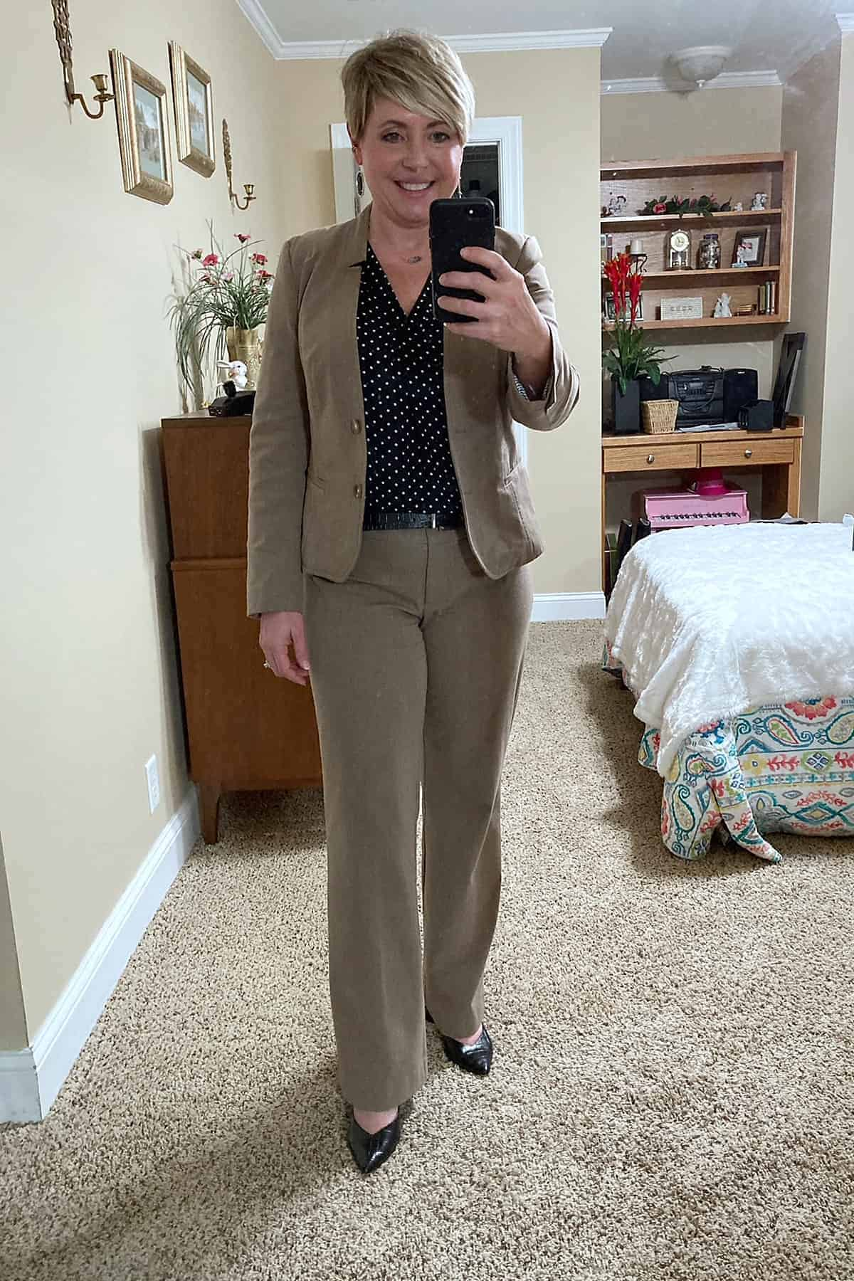 taupe suit outfit