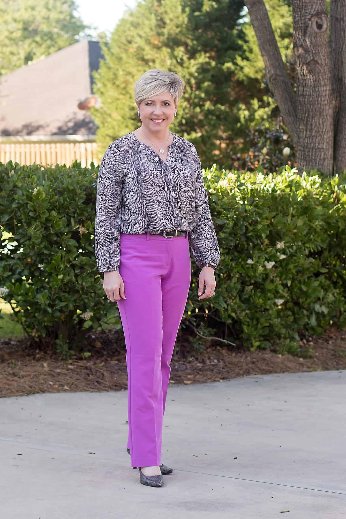 purple pants and grey snakeskin top women's work wear
