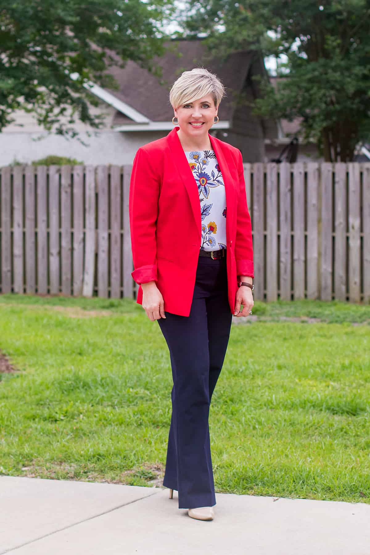 red blazer and navy pants outfit