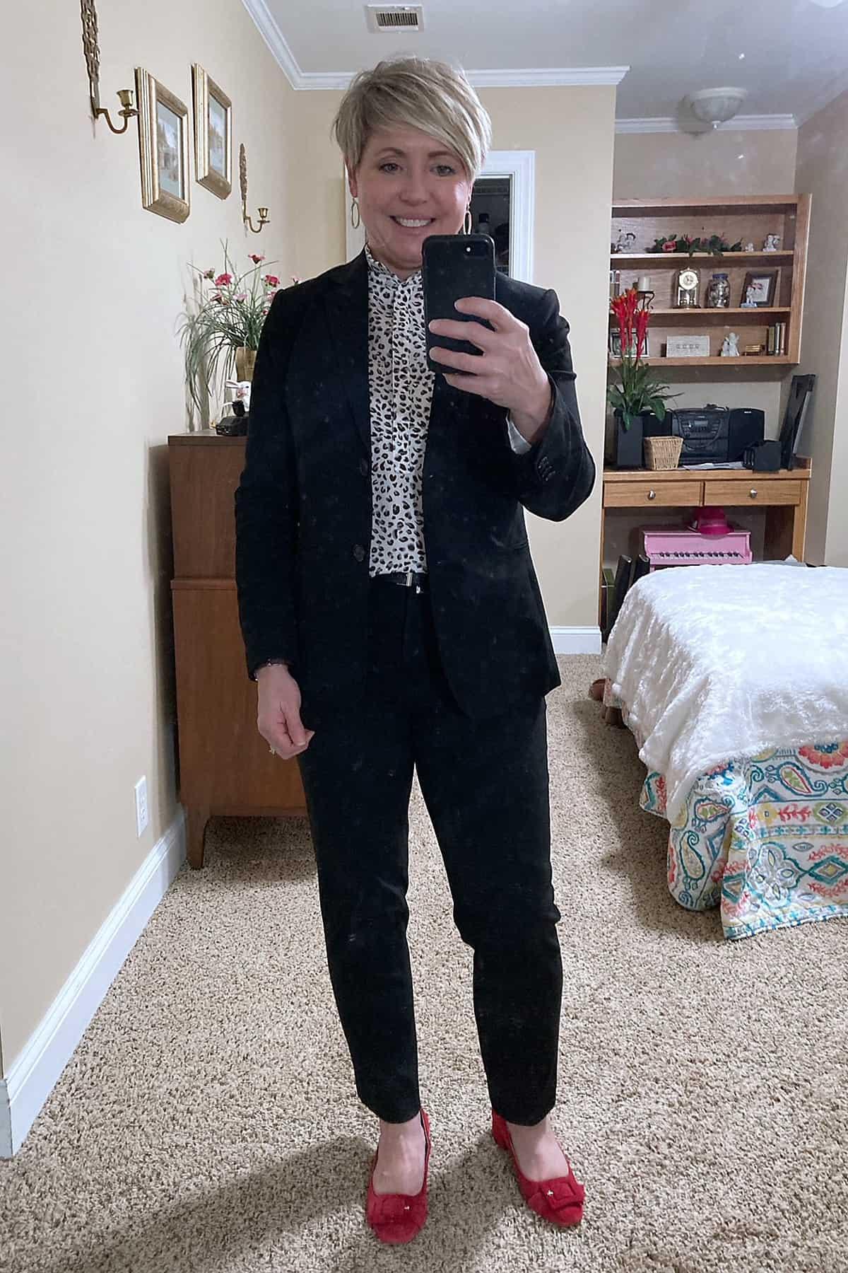 women's black suit office outfit