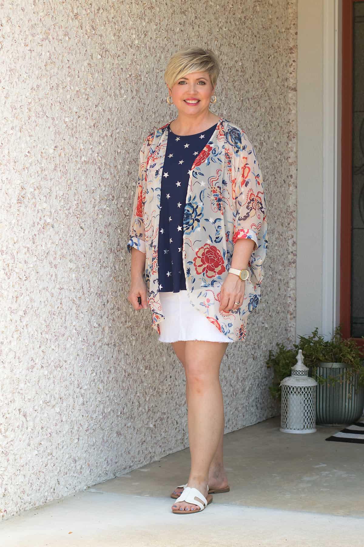women's kimono and tank outfit