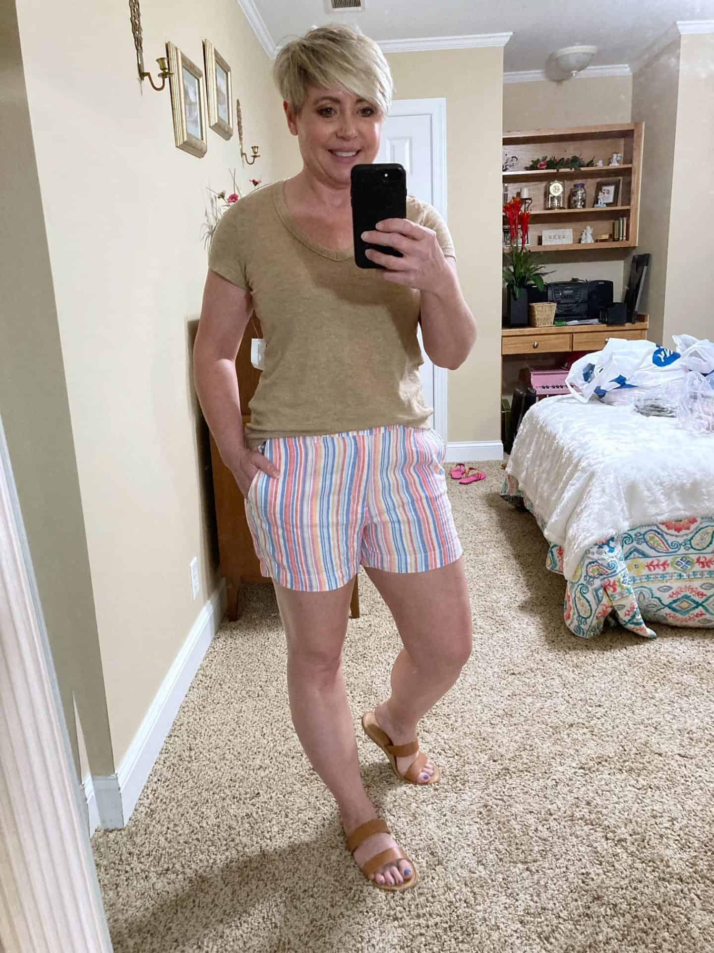 linen blend striped shorts