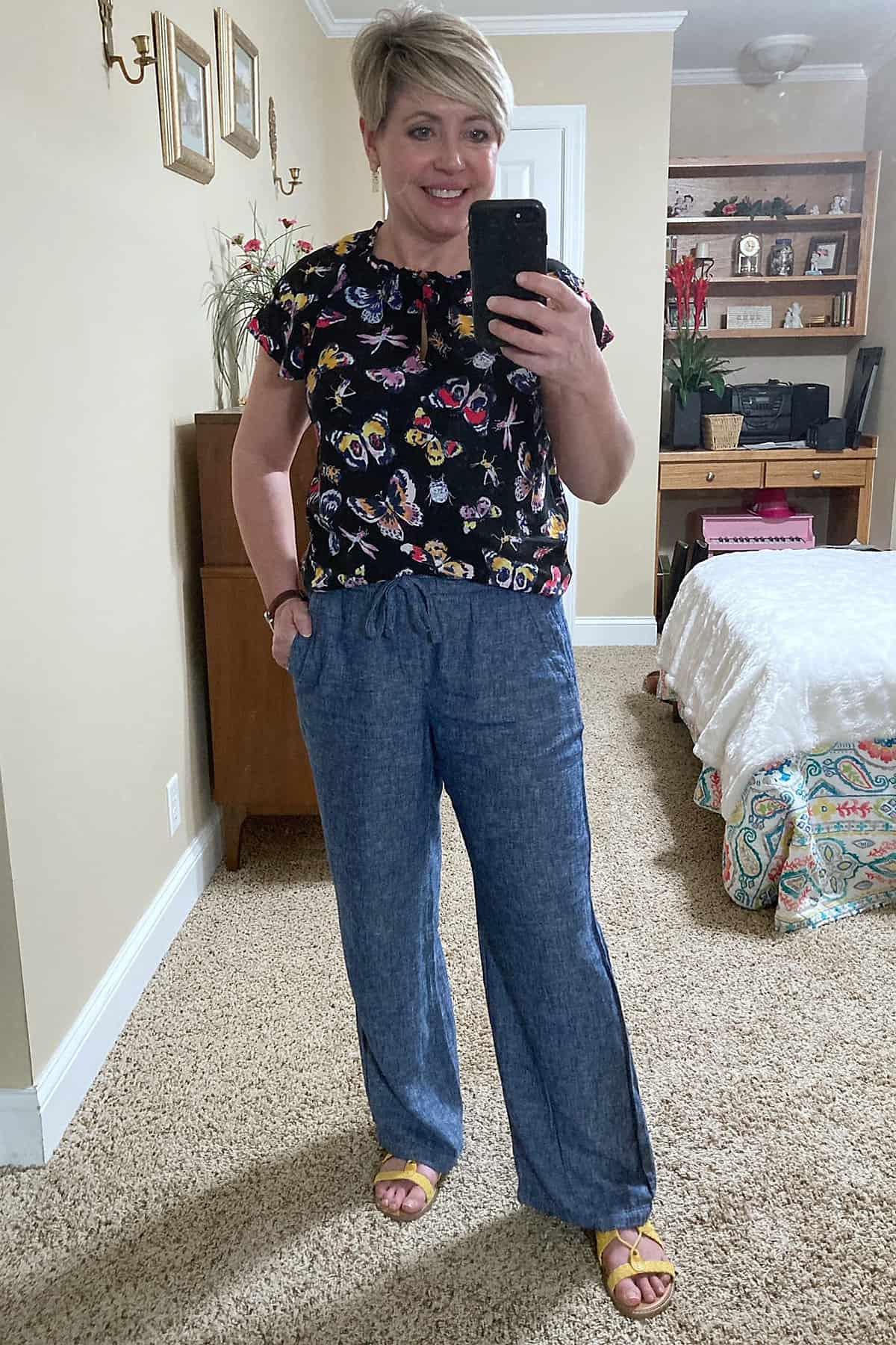 wide leg linen pants outfit