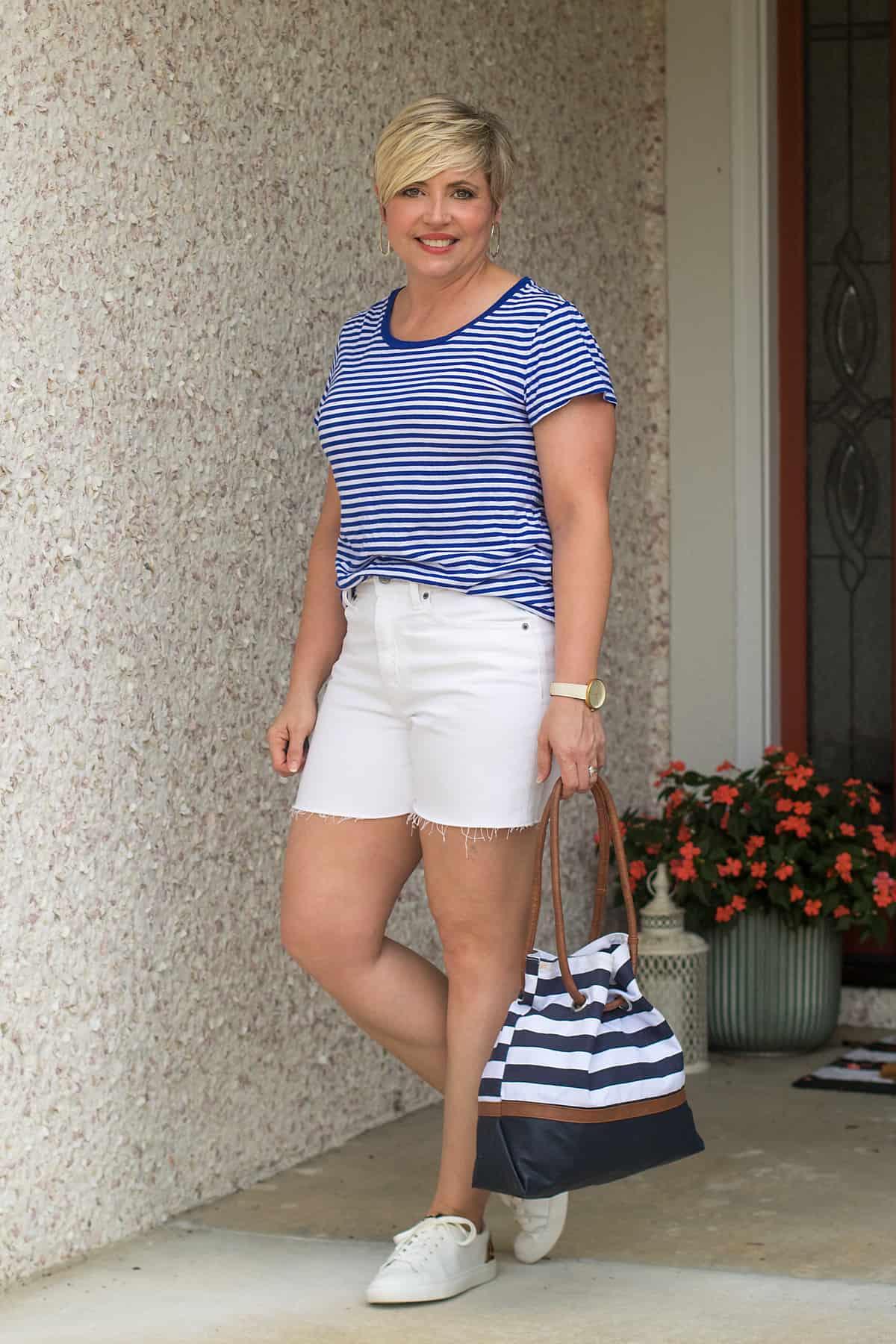 white shorts summer wardrobe essentials