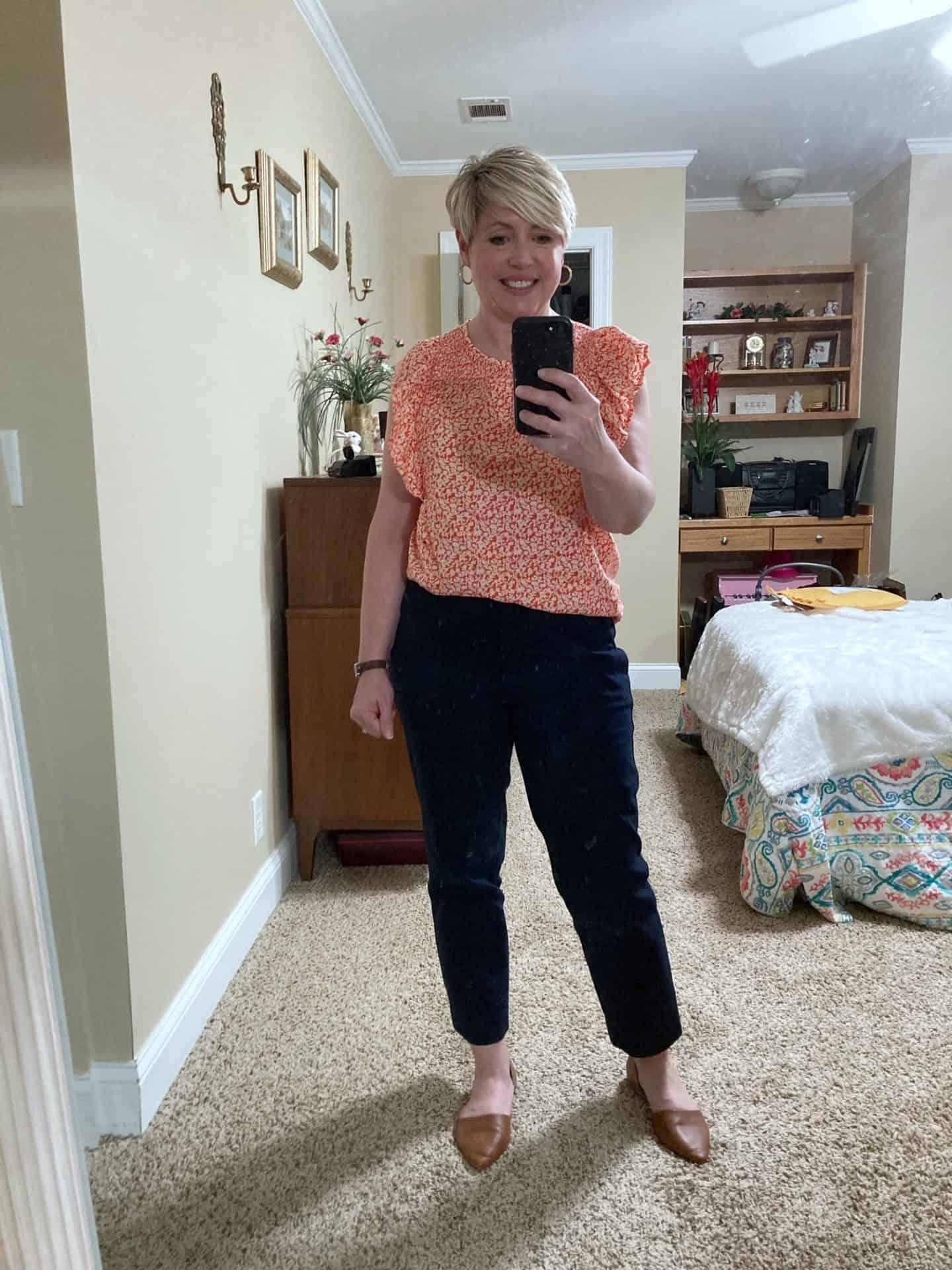 women's summer work wear flutter sleeve smocked top