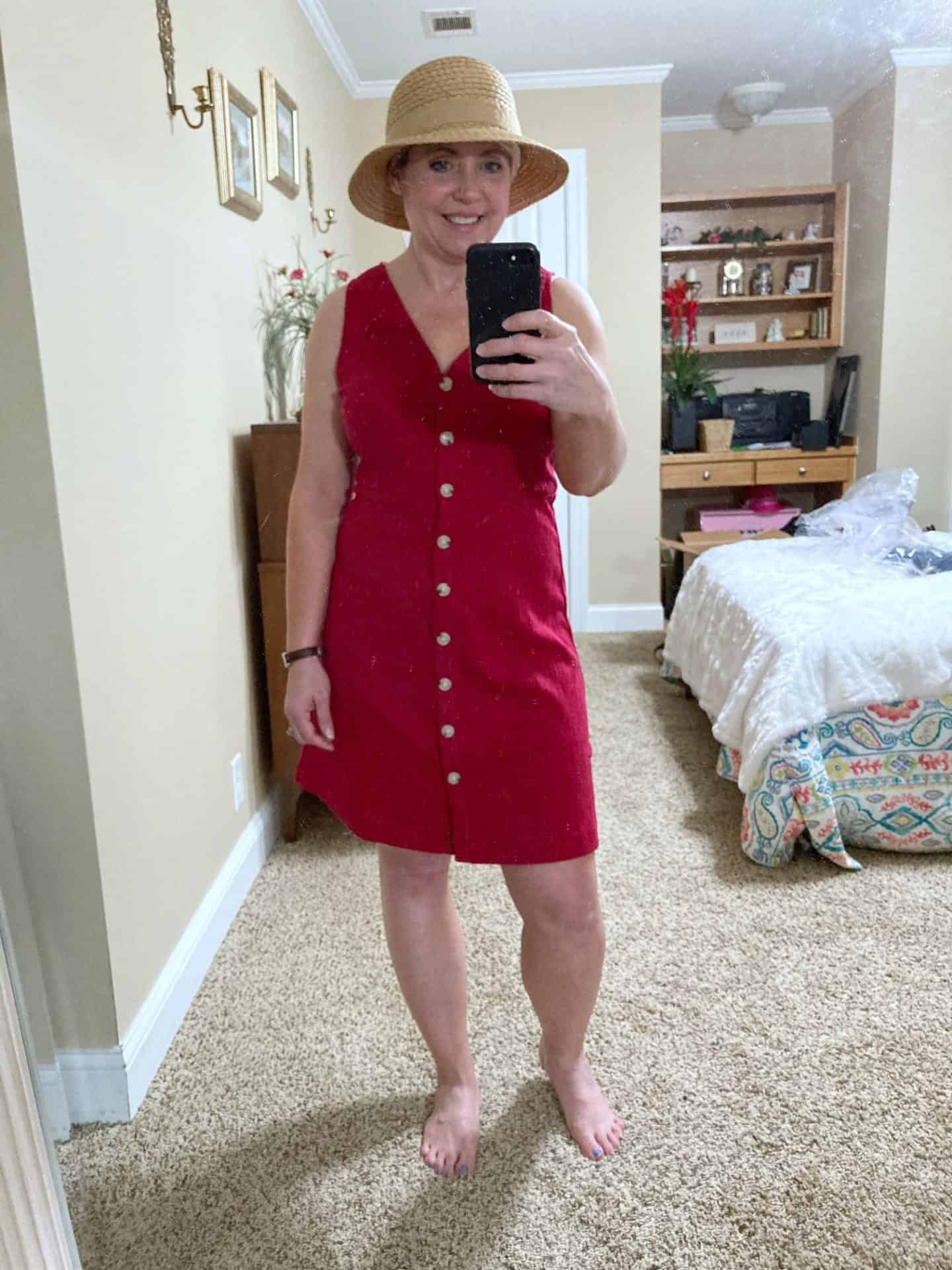 straw cloche hat and summer button front dress